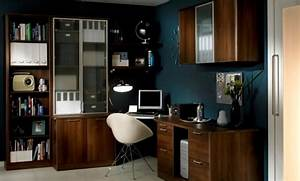 Dark, Blue, And, White, Themed, Cool, Home, Office, Design, With, Useful, Brown, Wood, L, Shaped, Office, De
