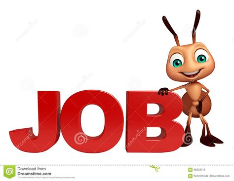 Cute Ant Cartoon Character With Job Sign Stock