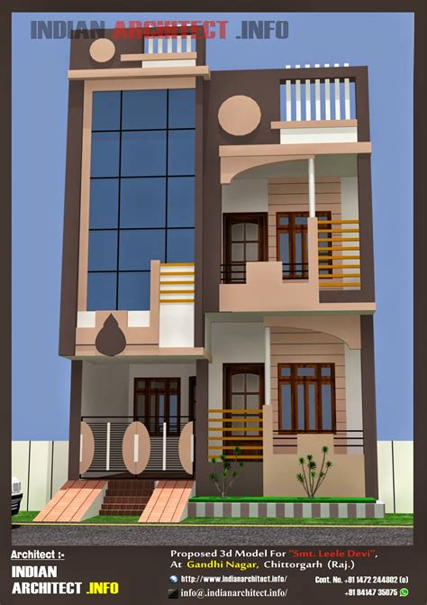 20 by 50 home design smt leela devi house 20 x 50 1000 sqft floor plan and 3d elavation indian architect