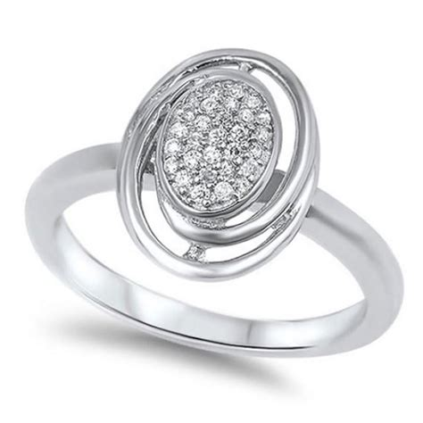 solid swirl 925 sterling silver pave clear russian cz oval shape twisted