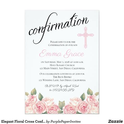Elegant Floral Cross Confirmation Invitation Zazzle com