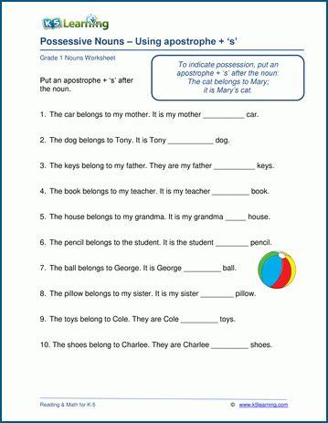 possessive nouns worksheets k5 learning