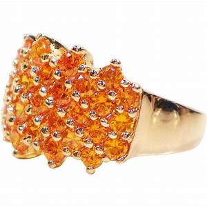 Sparkling Simulated Tangerine Citrine Gold Over Silver ...
