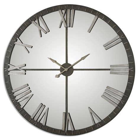 distressed mirror glass amelie oversized bronze wall clock uttermost 06419