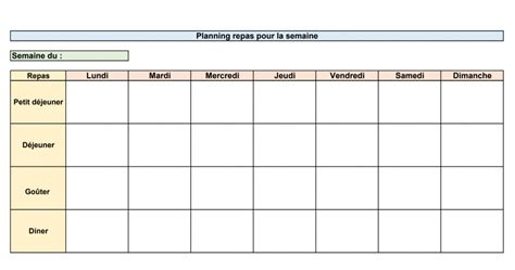 Planning repas semaine vierge imprimer has many pictures and they will inspire you about decoration dinterieurs. Planning Menu de la Semaine à Imprimer - Wizzelite