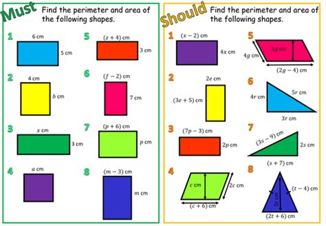 Areas And Perimeters With Algebra By Aframe  Teaching Resources Tes