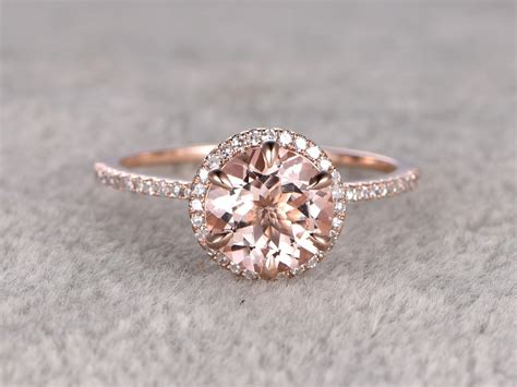 cut morganite engagement ring rose gold gold halo