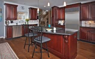 Kitchen Paint Colors With Light Cherry Cabinets by Dark Cherry With Gray Accents Traditional Kitchen