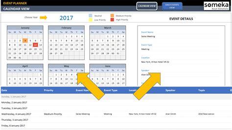dynamic event calendar template interactive excel calendar