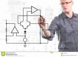 Electrical Engineer Drawing Circuit Diagram Royalty Free