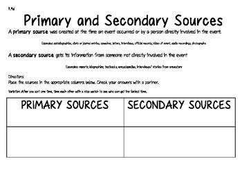 primary and secondary source worksheet worksheets for all