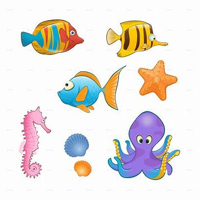Sea Animals Cartoon Creatures Background Transparent Pluspng