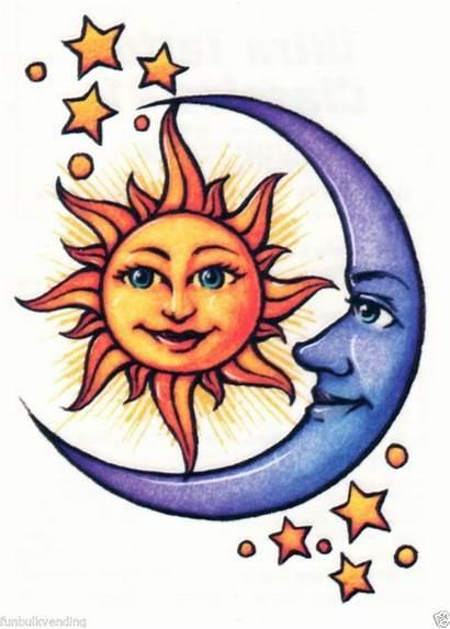 Moon Sun Clipart Trippy Together Stencil Tattoo