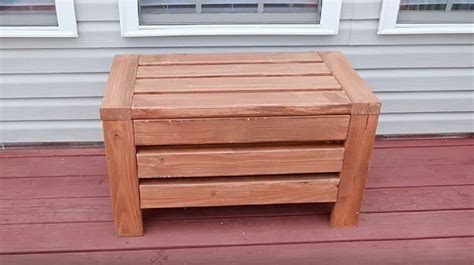 outdoor storage bench seat   yard diy project