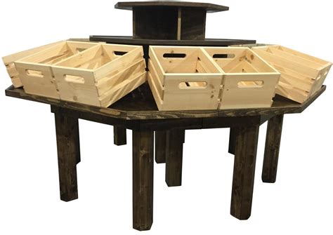 retail produce display tables rustic wood retail store product display fixtures