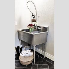 Laundry Room With Stainless Steel Utility Sink