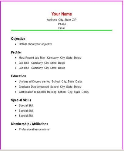 Basic Information For A Resume basic resume format carolina wesleyan college