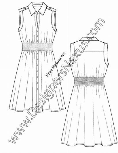 Flat Sketch Template Illustrator Shirtdress Sleeve Sketches