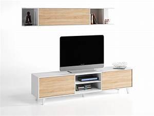 Etagere Murale Tv : meuble tv tag re murale domino plus blanc brillant chene ~ Teatrodelosmanantiales.com Idées de Décoration