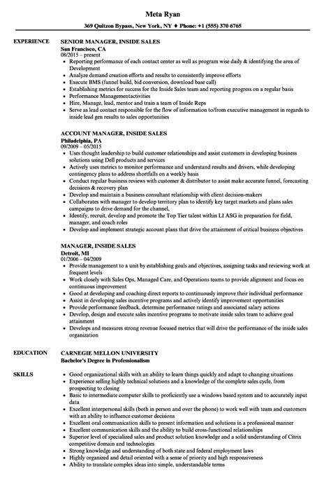 Inside Sales Resume by Inside Sales Resume Sle Www Nmdnconference