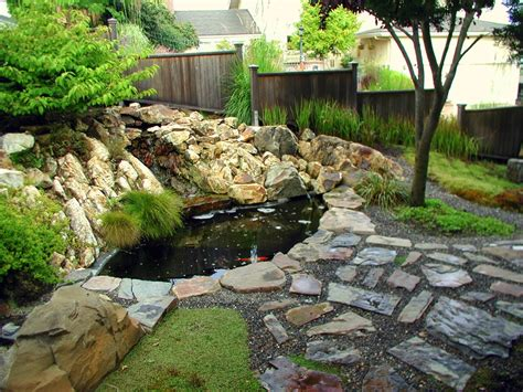 fish pond in garden japanese zen gardens