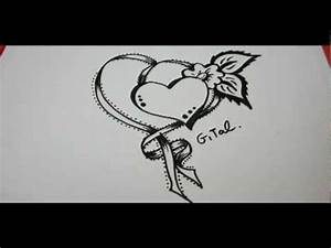 How To Draw Ribbon With A fancy Heart And Flower - YouTube