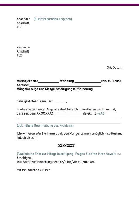 Maengelruege Und Maengelbeseitigung by Mietminderung Bei M 228 Ngeln Kostenlose Vorlagen Downloaden
