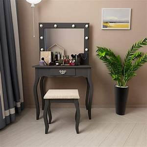 Mecor, Vanity, Table, With, Lighted, Mirror, Makeup, Table, With, Drawer, Wood, Dressing, Table, Girls, Women