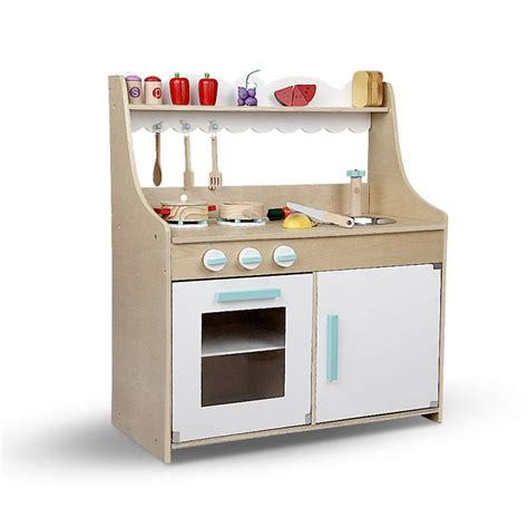 Keezi Kids Wooden Kitchen Play Set  Natural & White  Buy