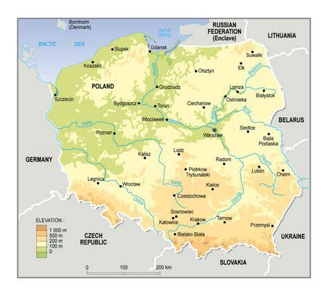 elevation map  poland poland europe mapsland