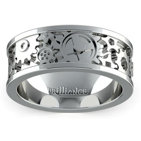 mens wedding ring gears gear channel s wedding ring in platinum