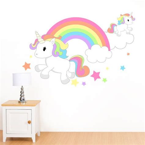 Lovely Pastel Wall Mural Design Ideas by Rainbow Unicorn Mural Wall Sticker S