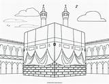 Kaba Drawing Mosque Outline Getdrawings Draw Cut sketch template