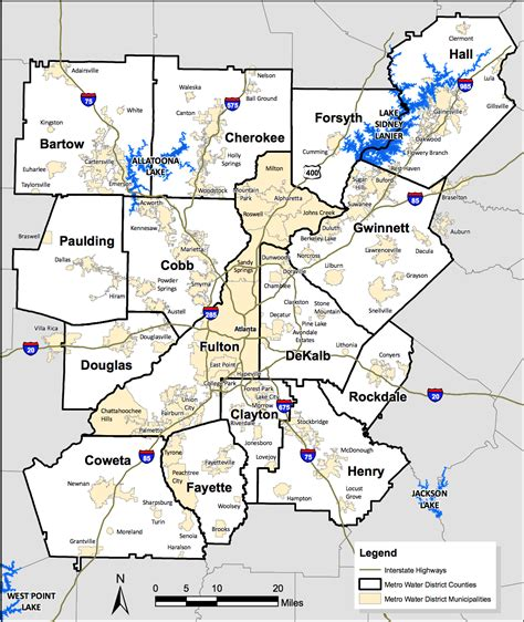 atlanta georgia counties map  travel information