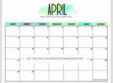 Free Printable April 2018 Calendar 12 Amazing Designs!