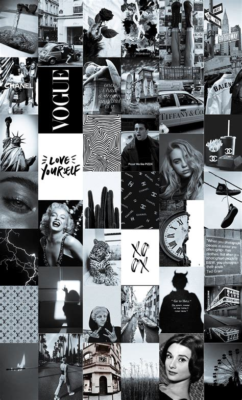 black aesthetic wall collage kit black and white