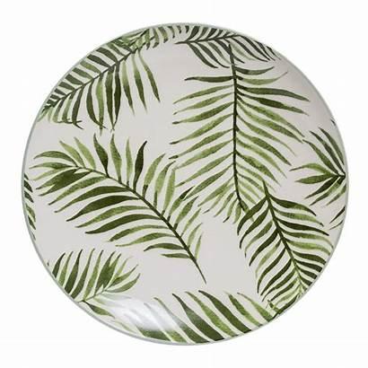 Leaf Ceramic Plate Fern Dinner Camping Jade