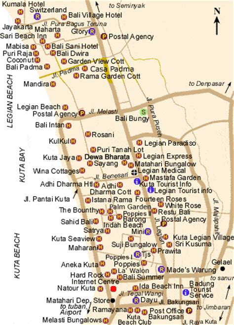 kuta legian map maps  bali