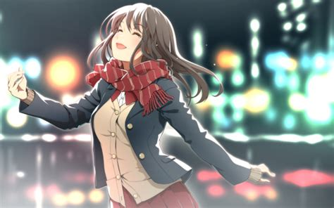 Happy Anime Wallpaper - wallpaper anime happy tears scarf bokeh lights
