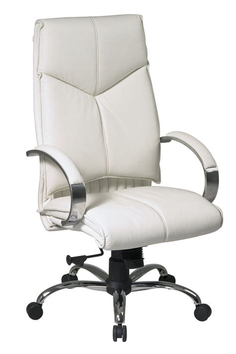 white leather sofa and chair 7270 office star deluxe high back executive white
