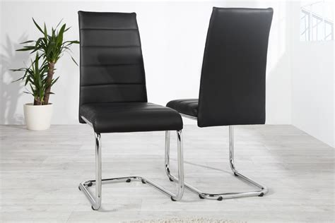 chaise design en simili cuir noir kazuac