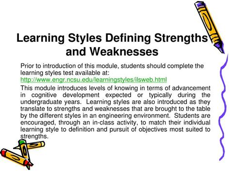 ppt learning styles defining strengths and weaknesses