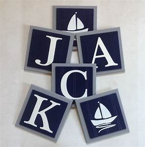 gray and navy blue nautical baby boy nursery name wall letter With navy blue wall letters