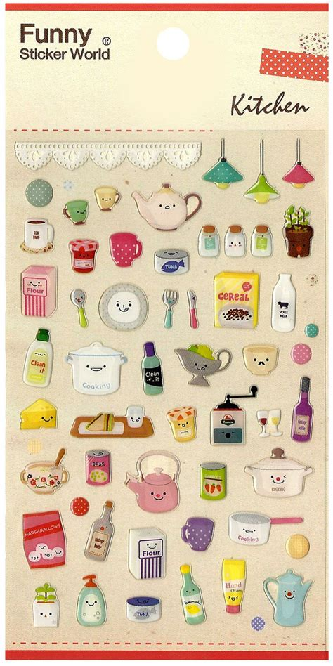 kawaii korea happy kitchen jewel sticker sheet httpshop