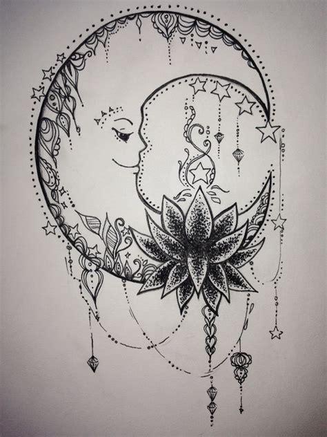 marcelines leg tattoo mandala crescent moon  lotus tears   runway tattoos tattoo