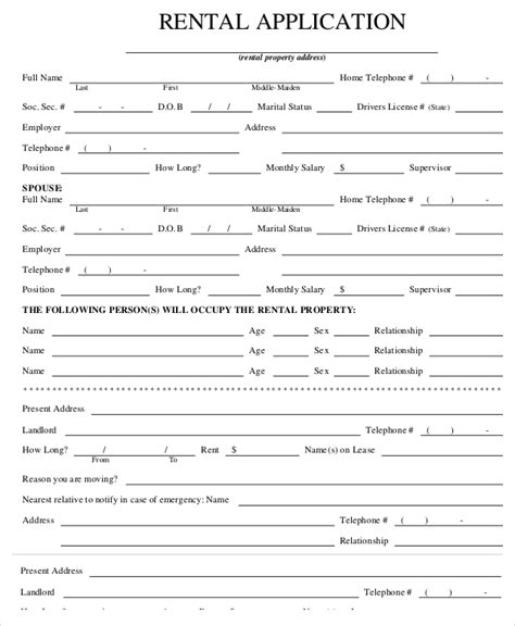 free rental application form template business