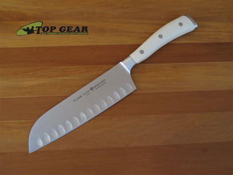white kitchen knives wusthof ikon santoku knife with hollow edge 4176 17