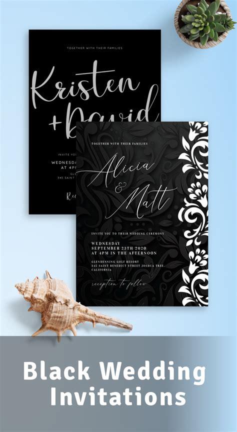 Black Wedding Invitations Download or Order printed