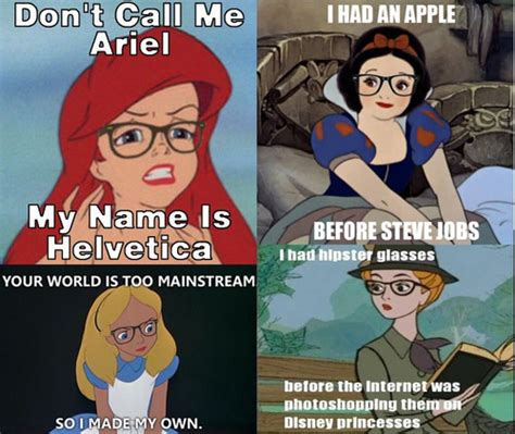 Disney Princess Hipster Meme - meme hipster princesses rather rad