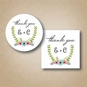 Wedding stickers thank you labels custom favor tags floral for Stickers for wedding favors